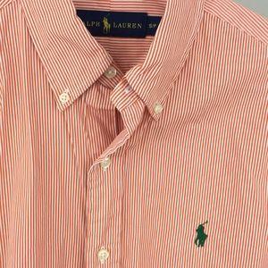 Ralph Lauren orange striped shirt green pony